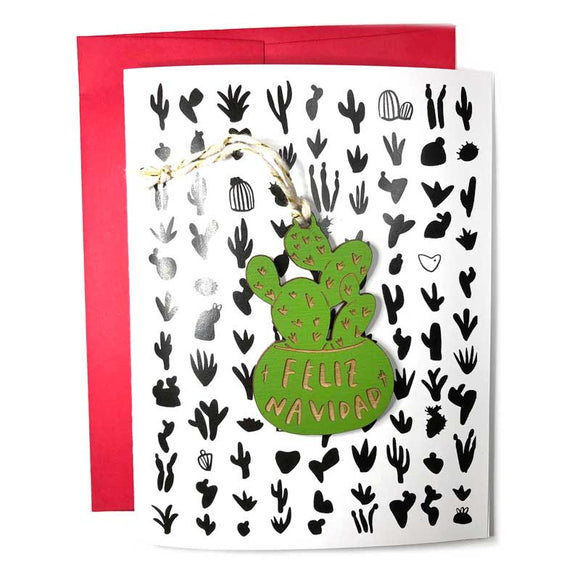 Feliz Navidad Cactus Ornament with Card