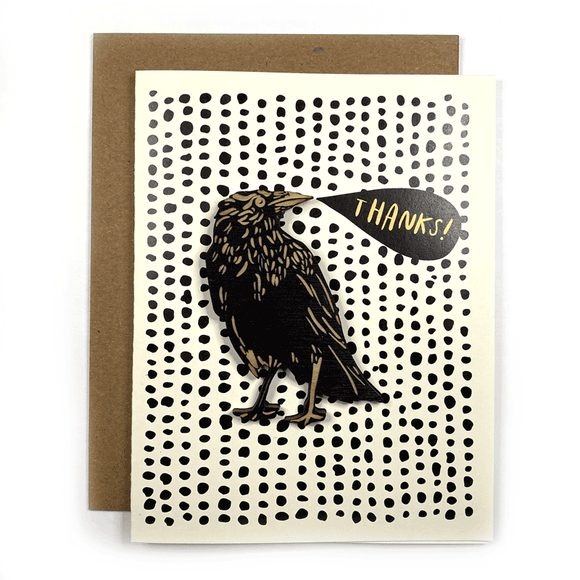 THANKS! Card w/ Crow Magnet