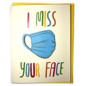 I Miss Your Face - Laser-engraved Mask Ornament or Magnet with Card