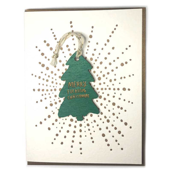 Merry F*cking Christmas Ornament w/ Letterpress Card