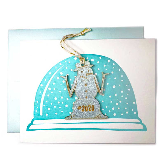 Laser-engraved 2020 Snowman Ornament w/ Letterpress Card