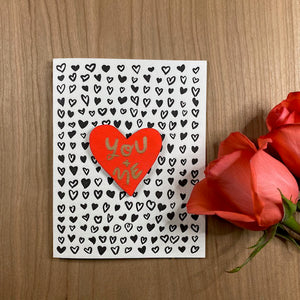 'You + Me' Letterpress Card with Laser-engraved Heart Magnet