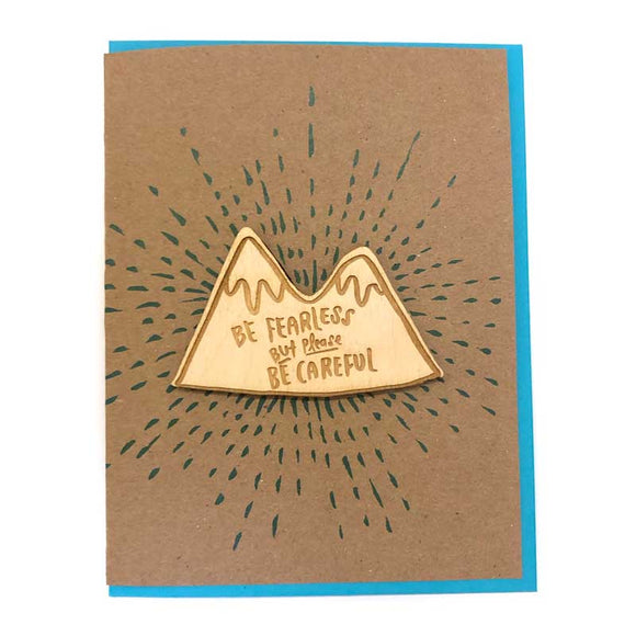 Laser-engraved 'Fearless but Careful' Mountain Magnet with Card