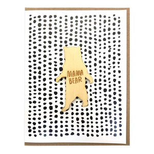 Laser-engraved Mama Bear Magnet with Card