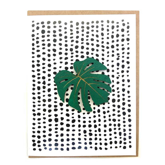 Laser-engraved Monstera Leaf Magnet with Card