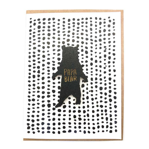 Laser-engraved Papa Bear Magnet with Card
