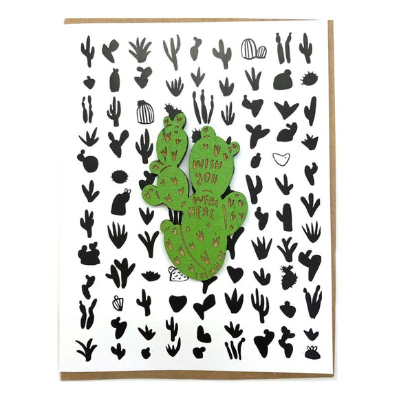 Customized Laser-engraved 'Wish You Were Here' Cactus Magnet with Card