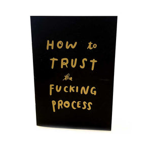 "This is a small black paperback book, the image is of the cover, which says in a handwritten font ""how to trust the fucking process"" and is printed in gold. The image is on a white background."