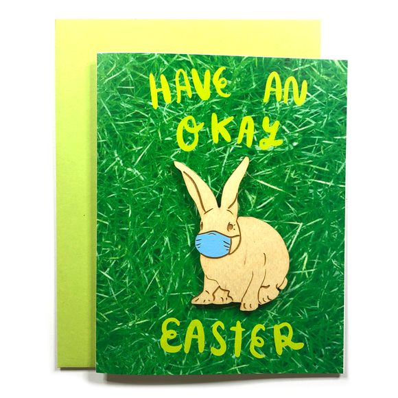 Okay Easter Bunny Magnet w/ Card