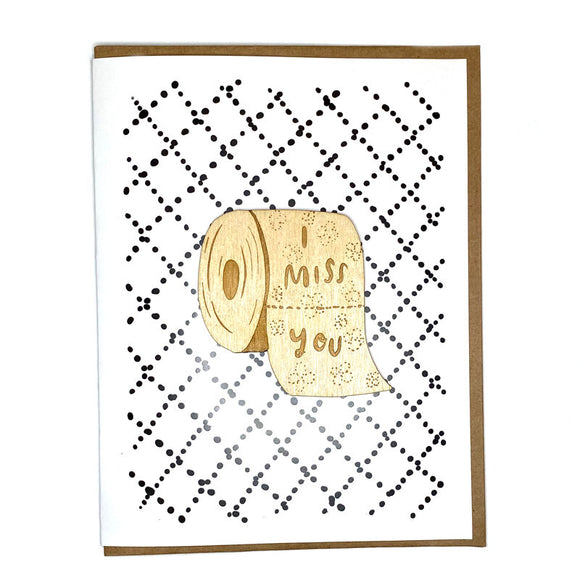 Laser-engraved 'I miss you' Toilet Paper Magnet with Card