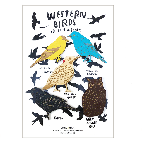 Laser-engraved Western Birds Magnet Set