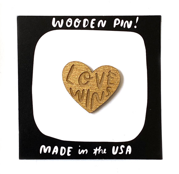 Laser-engraved Love Wins Pin