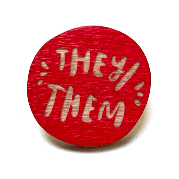 Laser-engraved Pronoun Pins