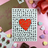 'Arrows' Letterpress Card with Laser-engraved Heart Magnet