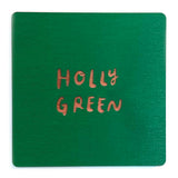 Photograph of a holly green color swatch
