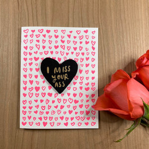 'I Miss Your Ass' Letterpress Card with Laser-engraved Heart Magnet