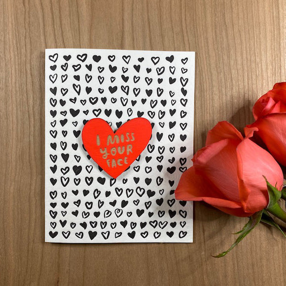 'I Miss Your Face' Letterpress Card with Laser-engraved Heart Magnet