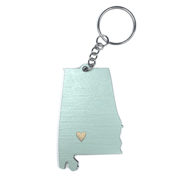 Photograph of Laser-engraved Alabama Heart Keychain