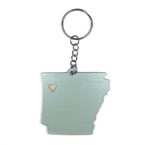 Photograph of Laser-engraved Arkansas Heart Keychain