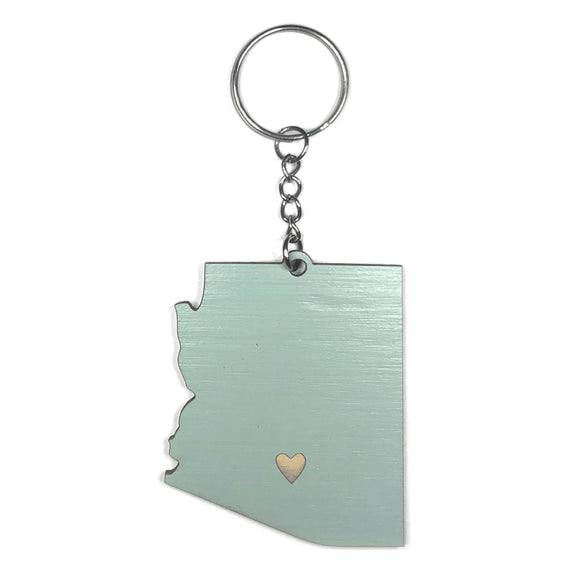 Photograph of Laser-engraved Arizona Heart Keychain