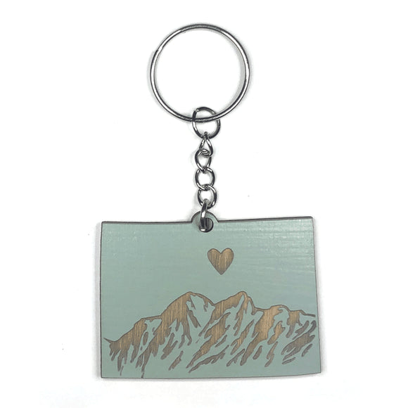 Photograph of Laser-engraved Colorado Heart Keychain