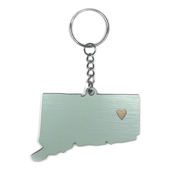 Photograph of Laser-engraved Connecticut Heart Keychain