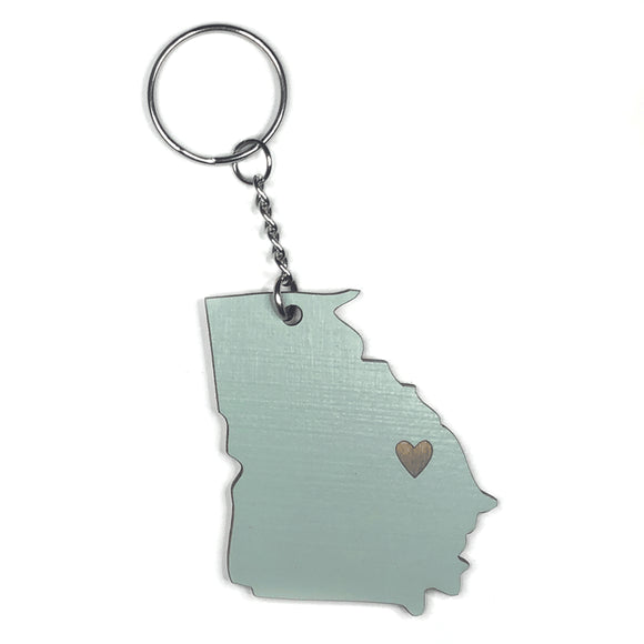 Photograph of Laser-engraved Georgia Heart Keychain