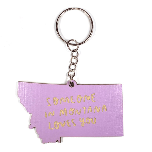Photograph of Laser-engraved Someone in Montana Loves You Keychain