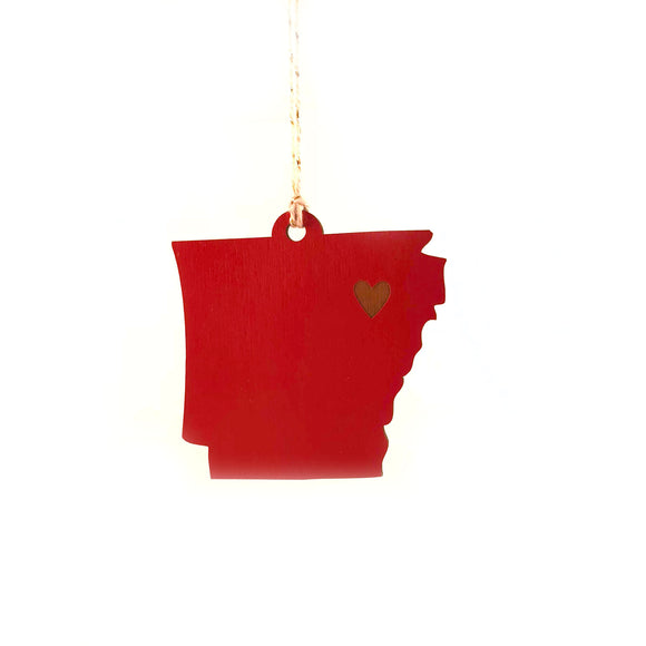 Photograph of Laser-engraved Arkansas Heart Ornament - Large