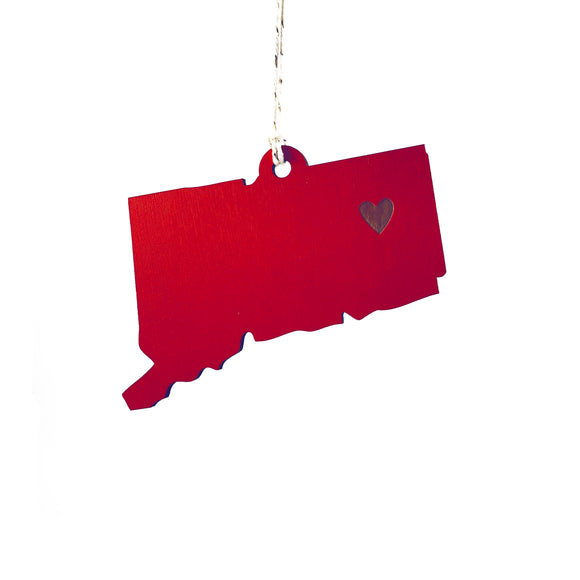 Photograph of Laser-engraved Connecticut Heart Ornament - Large