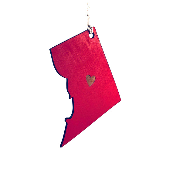 Photograph of Laser-engraved District of Columbia Heart Ornament - Large