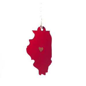 Photograph of Laser-engraved Illinois Heart Ornament - Large