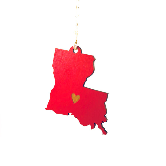 Photograph of Laser-engraved Louisiana Heart Ornament - Large