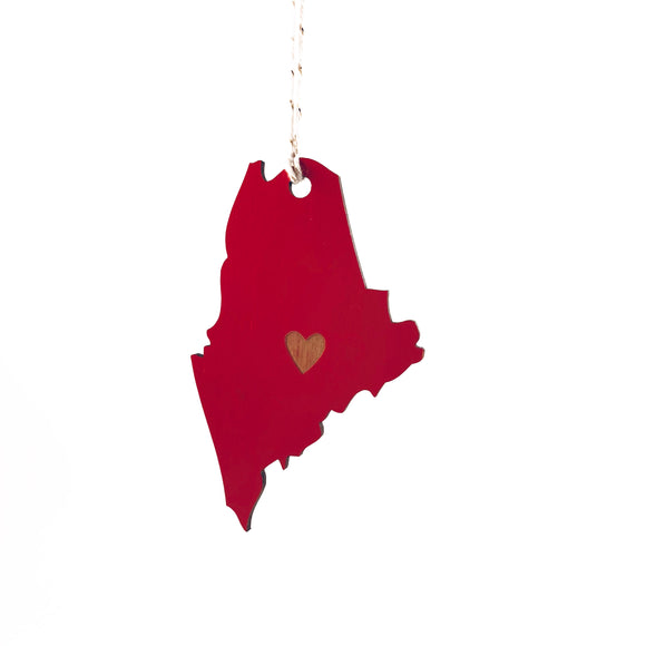 Photograph of Laser-engraved Maine Heart Ornament - Large
