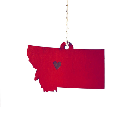Photograph of Laser-engraved Montana Heart Ornament - Large