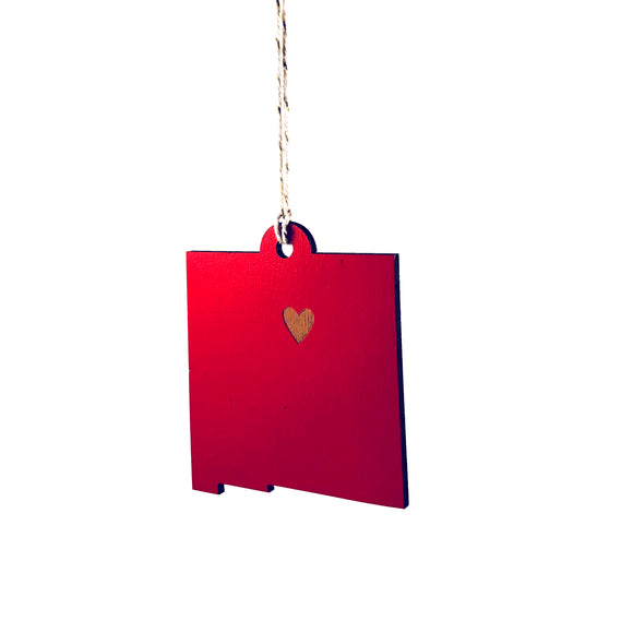 Photograph of Laser-engraved New Mexico Heart Ornament - Large