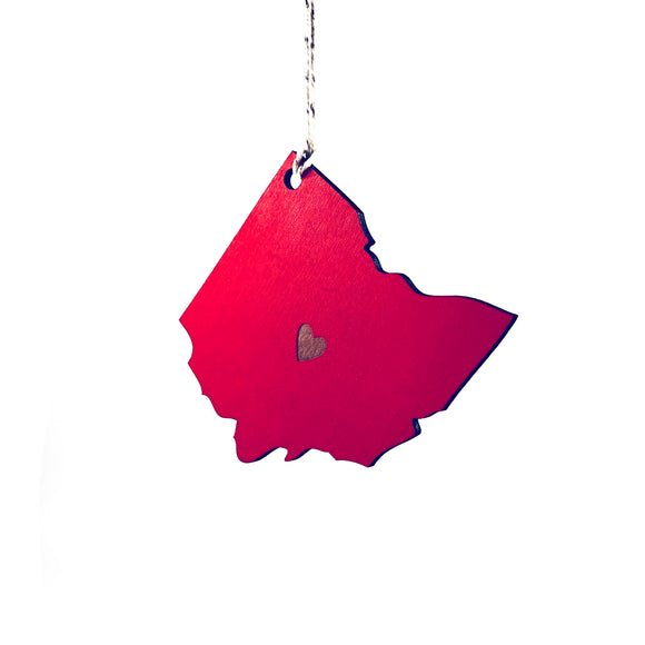 Photograph of Laser-engraved Ohio Heart Ornament - Large