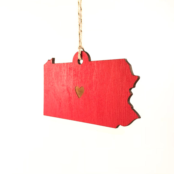 Photograph of Laser-engraved Pennsylvania Heart Ornament - Large