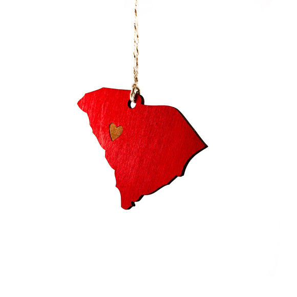 Photograph of Laser-engraved South Carolina Heart Ornament - Large
