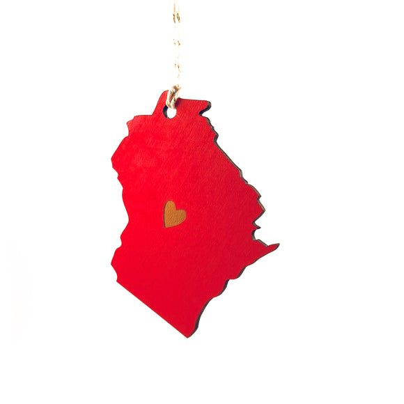 Photograph of Laser-engraved Wisconsin Heart Ornament - Large