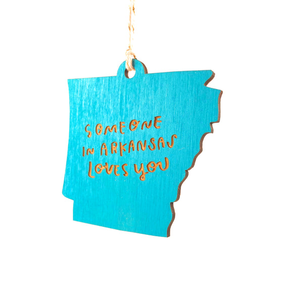 Photograph of Laser-engraved 'Someone in Arkansas Loves You' Ornament - Large