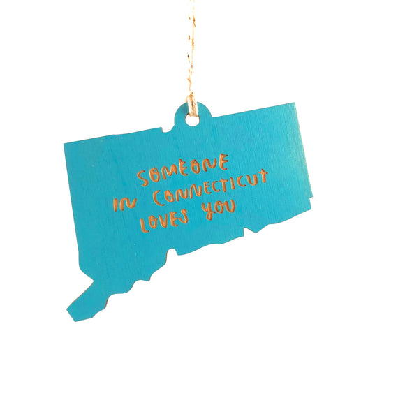 Photograph of Laser-engraved Someone in Connecticut Loves You Ornament - Small