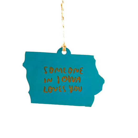 Photograph of Laser-engraved 'Someone in Iowa Loves You' Ornament - Large