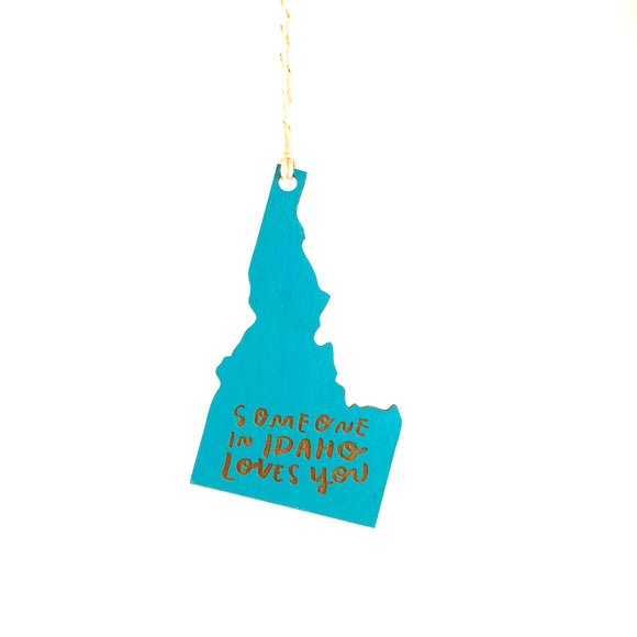 Photograph of Laser-engraved Someone in Idaho Loves You Ornament - Large