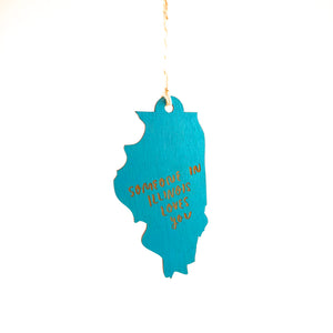 Photograph of Laser-engraved 'Someone in Illinois Loves You' Ornament - Large