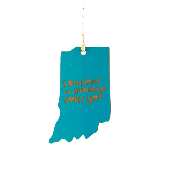 Photograph of Laser-engraved 'Someone in Indiana Loves You' Ornament - Large