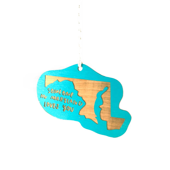Photograph of Laser-engraved 'Someone in Maryland Loves You' Ornament - Large