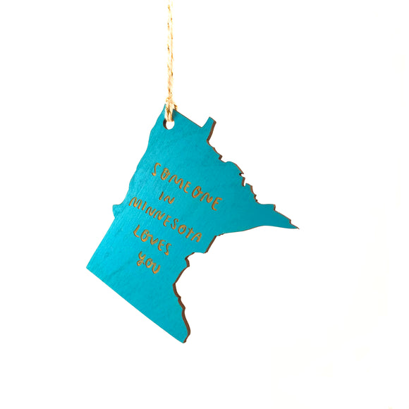 Photograph of Laser-engraved Someone in Minnesota Loves You Ornament - Small