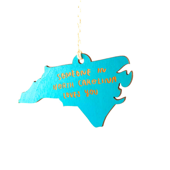 Photograph of Laser-engraved 'Someone in North Carolina Loves You' Ornament - Large