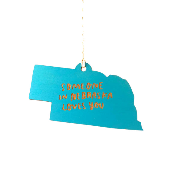 Photograph of Laser-engraved 'Someone in Nebraska Loves You' Ornament - Large